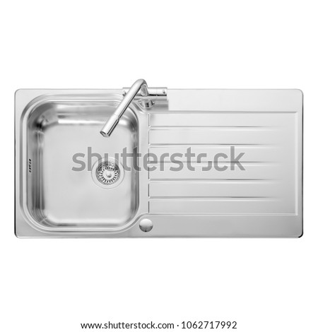 kitchen sink top view. Kitchen Sink Top View With Faucet Isolated On White Background. Stainless Steel Inset Washbowl.