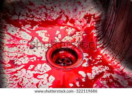 Kitchen sink  with blood for halloween - stock photo
