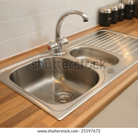 Kitchen Sink Mixer Tap Stock Photo (Royalty Free) 25597672 ...