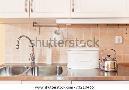 kitchen sink with utensil - stock photo