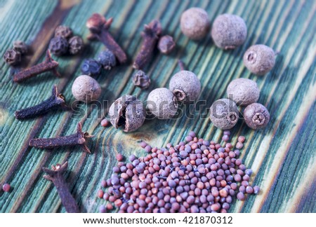 Kitchen spices on wooden background: mustard seeds, cloves spice, black pepper, allspice berries. Soft focus - stock photo