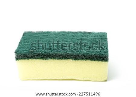 Kitchen sponge isolated with white background - stock photo