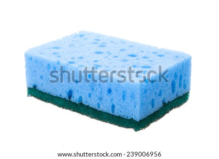 Kitchen sponges isolated over white background - stock photo
