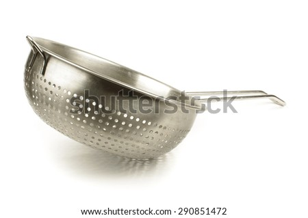 Kitchen stainless steel sieve isolated on the white background - stock photo