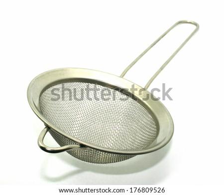 Kitchen strainer isolated on white background - stock photo