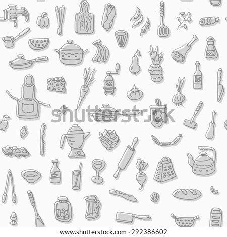 Kitchen stuff doodle seamless pattern. Hand drawn food background. High quality design element.