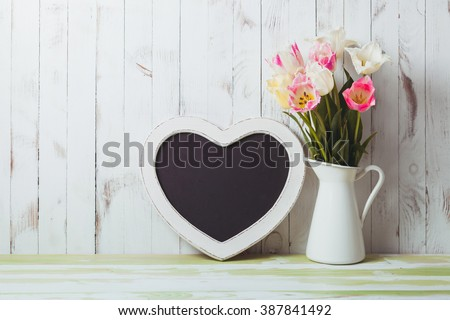 Kitchen table top in rustic shabby chic style, heart shape chalkboard