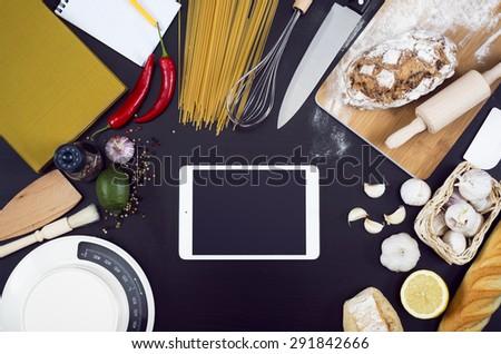 Kitchen tablet pc mockup - stock photo