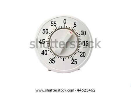 Kitchen timer isolated on white - stock photo