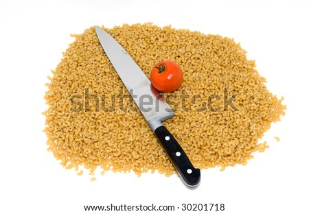 Kitchen tool and ingredients on a white background. - stock photo