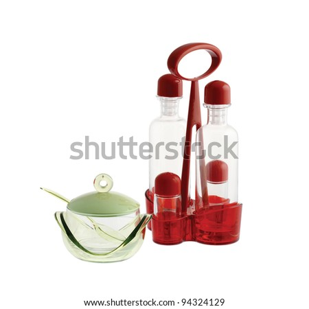 kitchen tool: oil and vinegar cruet isolated on white background