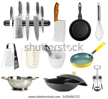 Kitchen tools collection isolated on white - stock photo