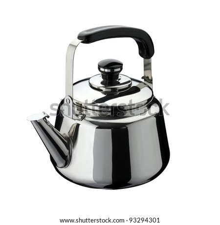 kitchen tools: kettle on stainless steel, isolated on white background