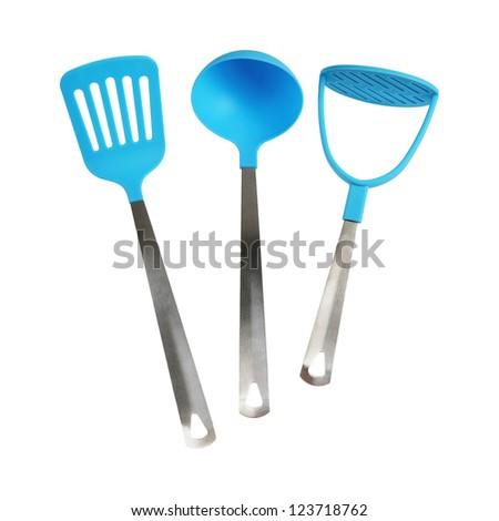 Kitchen tools. Potato masher, ladle, spatula. Isolated on white background - stock photo