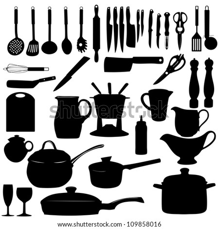 Kitchen tools Silhouette  raster version illustration