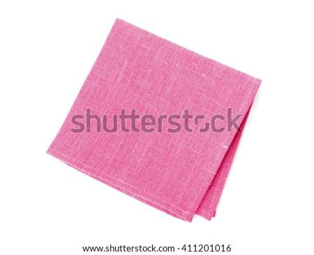 Kitchen towel or napkin isolated on white, top view - stock photo