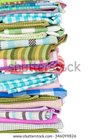 Kitchen towels. Isolated on white background with copy space - stock photo