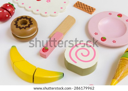 Kitchen Toy Set, Made from Wood, on Wooden Background