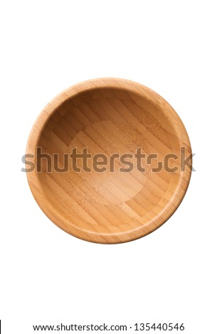 Kitchen utensil: empty clean wooden bowl, top view, isolated on white background - stock photo