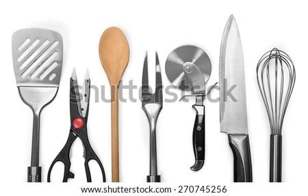 Kitchen Utensil, Kitchen Knife, Wire Whisk. - stock photo
