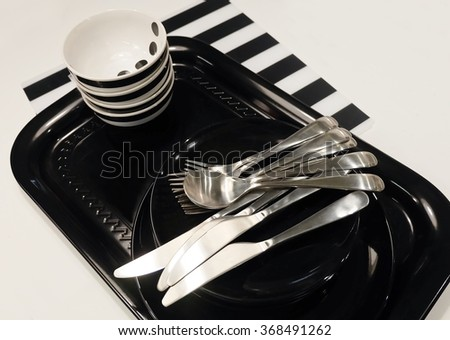 Kitchen Utensil, Set of Ceramic Plates, Bowls and Silverware, Preparing for Special Dinner and Lunch. - stock photo