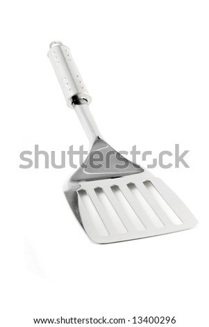 Kitchen utensil - stainless spatula isolated on white - stock photo