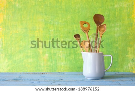 kitchen utensils, free copy space on the background - stock photo