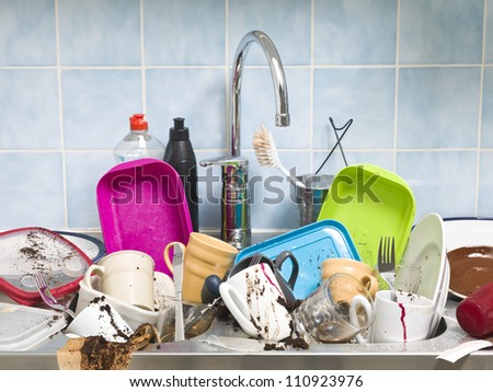 Kitchen utensils need a wash - stock photo