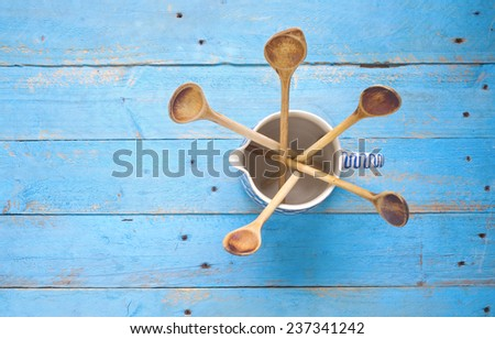 kitchen utensils, wooden spoons, top view, free copy space  - stock photo