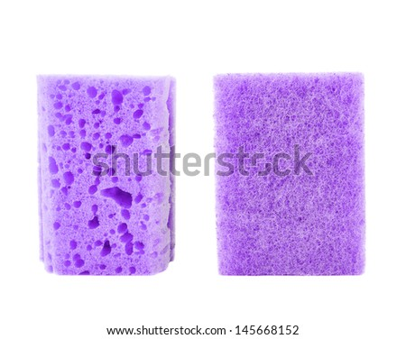 Kitchen violet sponge front and back side views isolated over white background