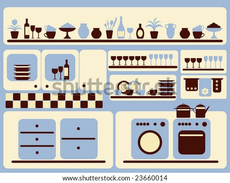 Kitchen ware and home objects set. Vector illustration. - stock photo