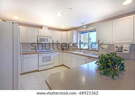 Kitchen white and simple. - stock photo
