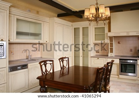 Kitchen with furniture from a natural tree