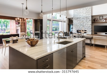 Kitchen Island Sink Cabinets Hardwood Floors Stock Photo Royalty Free 315797645  Shutterstock