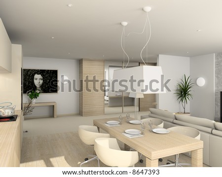 Kitchen with the modern furniture. 3D render.