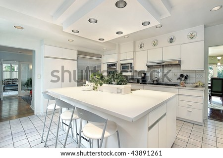 Kitchen with white cabinetry - stock photo