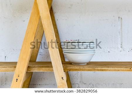 Kitchen wood shelf with Home Kitchen Wares - stock photo