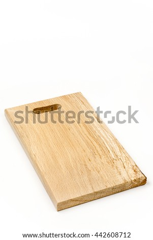 Kitchen wooden cutting board isolated over white