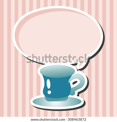 kitchenware cup, cartoon speech icon - stock photo
