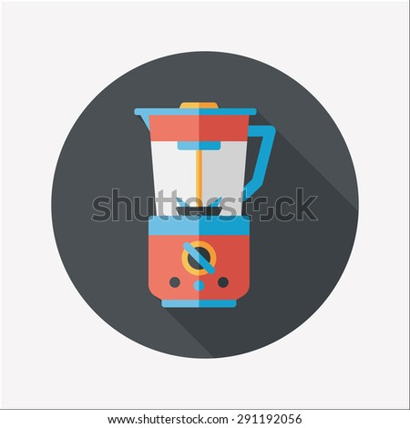 kitchenware electric juicer flat icon with long shadow - stock photo