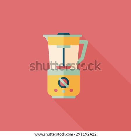 kitchenware electric juicer flat icon with long shadow