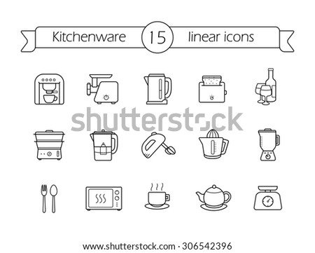 Kitchenware linear icons set. Line art kitchen equipment. Raster - stock photo