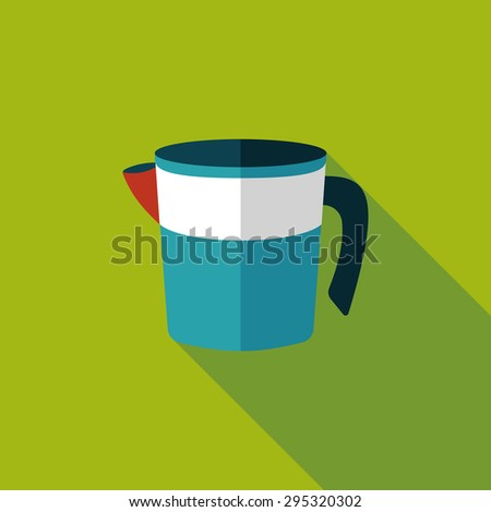 kitchenware measuring cup flat icon with long shadow