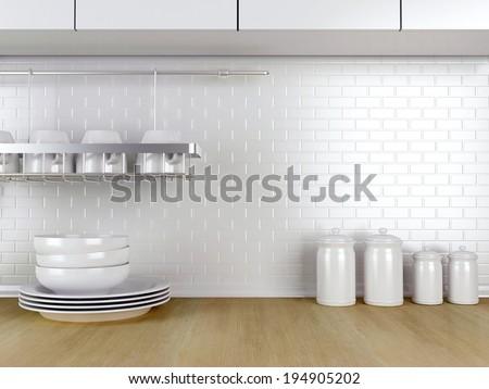 Kitchenware on the wooden worktop. White kitchen design.  - stock photo