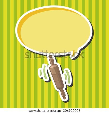 kitchenware rolling pin, cartoon speech icon - stock photo