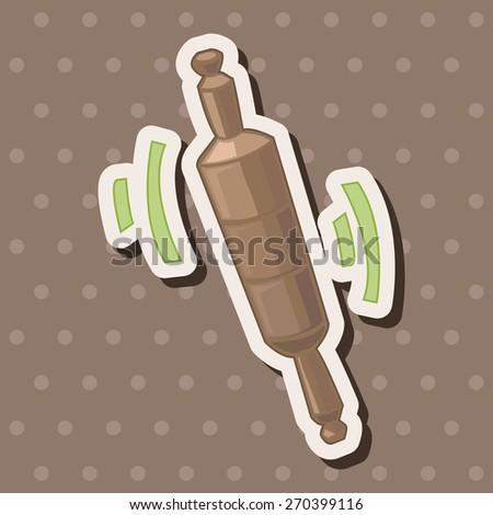 kitchenware rolling pin, cartoon stickers icon - stock photo