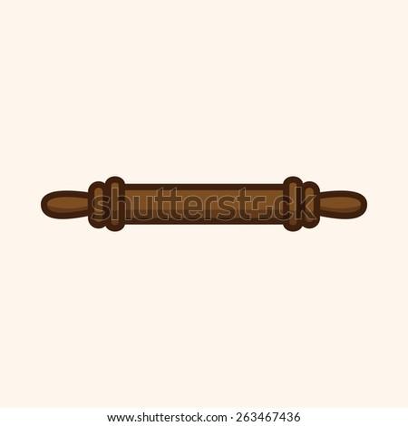 kitchenware rolling pin theme elements - stock photo