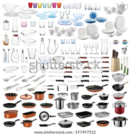 Kitchenware set with cooking/food serving utensils and dishware on white background. - stock photo