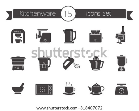 Kitchenware silhouette icons set. Kitchen equipment. Raster - stock photo