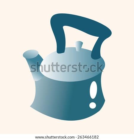 kitchenware tea pot theme elements - stock photo